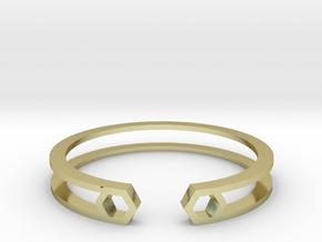 HH Bracelet Sharp, Medium Size, 65mm. Minimalistic in 18k Gold Plated Brass: Medium