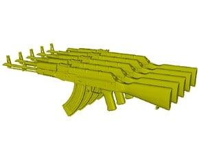 1/24 scale Avtomat Kalashnikova AK-47 rifles x 5 in Smooth Fine Detail Plastic