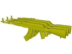 1/24 scale Avtomat Kalashnikova AK-47 rifles x 3 in Smooth Fine Detail Plastic