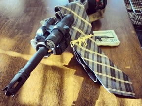 AR-15 MONEY/TIE CLIP in Polished Bronzed Silver Steel