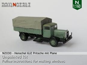 Henschel 6J2 Pritsche mit Plane (N 1:160) in Smooth Fine Detail Plastic