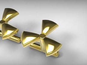 Nuclear Cufflinks  in Polished Bronzed Silver Steel