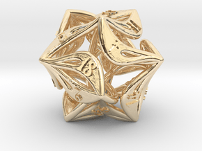 Curlicue 20-Sided Dice in 14k Gold Plated Brass