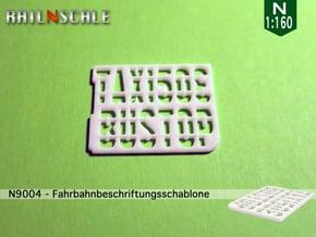 Fahrbahnbeschriftungsschablone (N 1:160) in White Natural Versatile Plastic