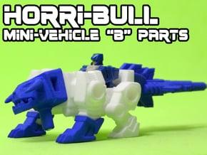 "Horri-Bull Minivehicle, ""B"" Parts in White Natural Versatile Plastic"