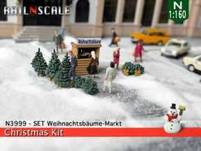 SET Weihnachtsbäume-Markt (N 1:160) in Smooth Fine Detail Plastic