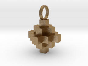 Block Pendant in Polished Gold Steel