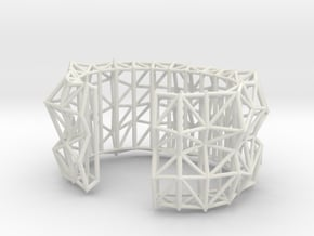 Faceted Cuff     in White Natural Versatile Plastic: Small