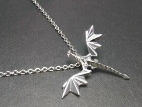 Origami dragon pendant in Rhodium Plated Brass