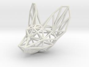 Fennec head pendant in White Natural Versatile Plastic