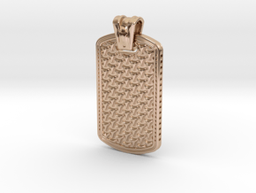 HOUNDS TOOTH DOG TAG 1 in 14k Rose Gold Plated Brass