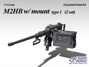 1/25 M2HB w/ Mount (2 set - type 1) in Smooth Fine Detail Plastic