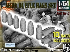1-64 Army Duffle Bags Set1 in Smooth Fine Detail Plastic