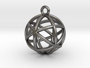 """Planetary Merkaba Sphere Pendant 1"""" in Polished Nickel Steel"""