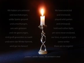 """candle holder """"Lovers"""" in Polished Bronzed Silver Steel"""