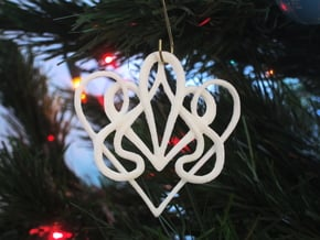 Christmas Ornament Deco Heart  in White Natural Versatile Plastic