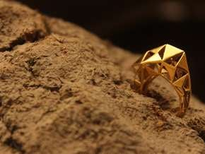 Meshed Up Ring in Polished Brass: 6 / 51.5