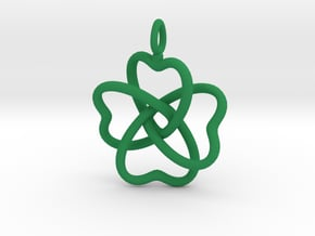 Heart Petals 4 Leaf Clover - 3.3cm - wLoopet in Green Processed Versatile Plastic