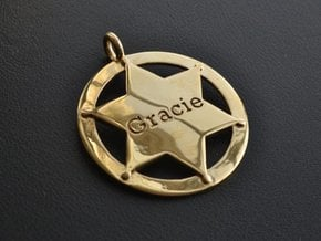 Sheriff's Star (6-point) Pet-Tag/Pendant (Thinner) in Polished Brass