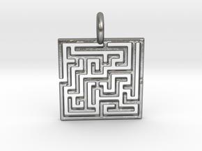Maze Pendant No.3 in Natural Silver