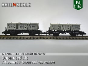 SET 6x Eoskrt 021 Behälter (FLM/MTX) (N 1:160) in Smooth Fine Detail Plastic