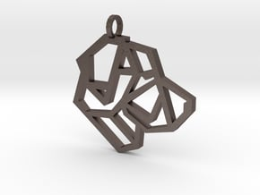 Geometric Labrador Necklace in Polished Bronzed Silver Steel
