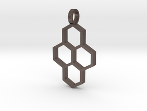 Hex Drop Necklace in Polished Bronzed Silver Steel