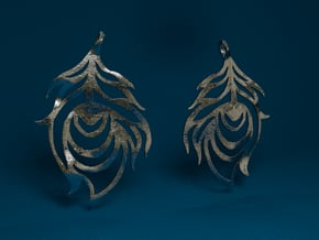 Feather Earrings in Polished Bronzed Silver Steel