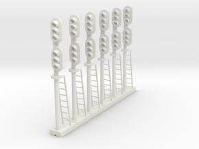 Block Signal Double 3 Light RH (Qty 6) - HO 87:1 in White Natural Versatile Plastic