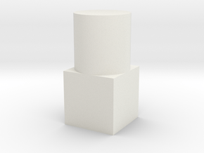 Small Geometric Object for Testing Finishes in White Natural Versatile Plastic