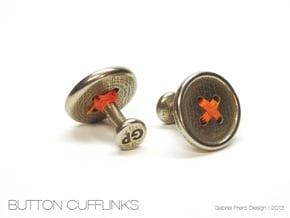 Button Cufflinks in Polished Bronzed Silver Steel
