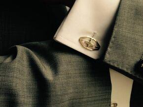 HEAD TO HEAD 44, Bend Cufflinks in Polished Silver