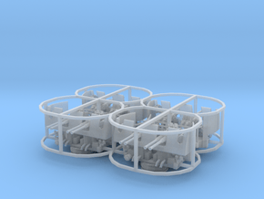 1/96 40mm Quad Bofors Mount w. Shield Set 4 Units in Smooth Fine Detail Plastic