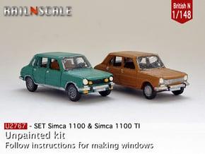 SET Simca 1100 & 1100 TI (British N 1:148) in Smooth Fine Detail Plastic