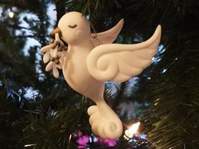 Dove Ornament in White Natural Versatile Plastic
