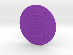 Peace Spiral B2 Button in Purple Processed Versatile Plastic