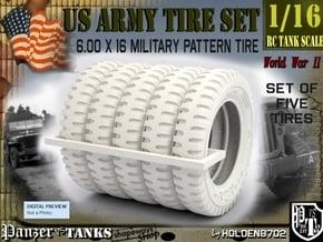 1-16 Tire 600x16 Five Units in White Processed Versatile Plastic
