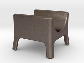 Cigar stand in Polished Bronzed Silver Steel: Small
