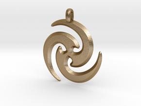 Tribal Maori Symbolic Pendant in Polished Gold Steel