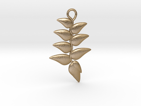 Hanging Heliconia Pendent in Polished Gold Steel