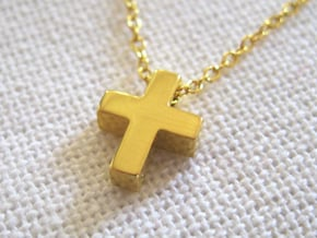 Small Simple Cross Pendant in 18k Gold Plated Brass