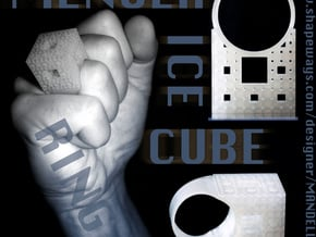Menger Ice Cube Ring - 21mm Diameter in Smooth Fine Detail Plastic