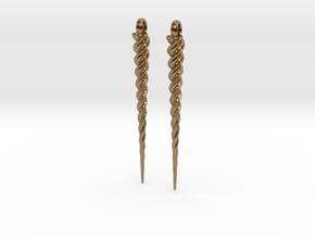 Unicorn Horn Earrings in Natural Brass