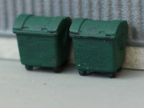 N Scale 4x Waste Container in Smooth Fine Detail Plastic