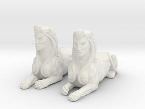 Pair of Sphinx Statues in White Natural Versatile Plastic
