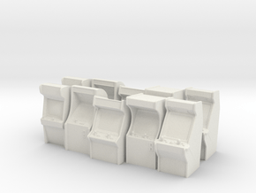 Heroic Scale Arcade Machines (x10) in White Natural Versatile Plastic