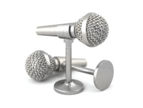 Microphone Cufflinks in Polished Bronzed Silver Steel