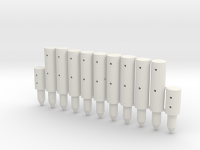 BP2-11, Round Cable Barrier Posts, 11 pcs in White Natural Versatile Plastic