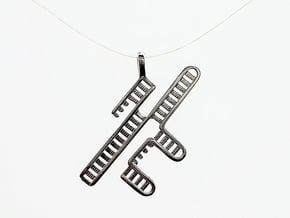 CRISPR RNA Pendant with Bail in Polished Silver