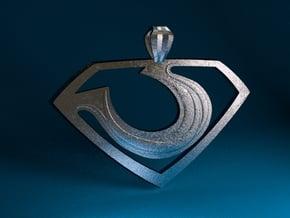 """Zod """"Man of Steel"""" Pendant in Polished Bronzed Silver Steel"""